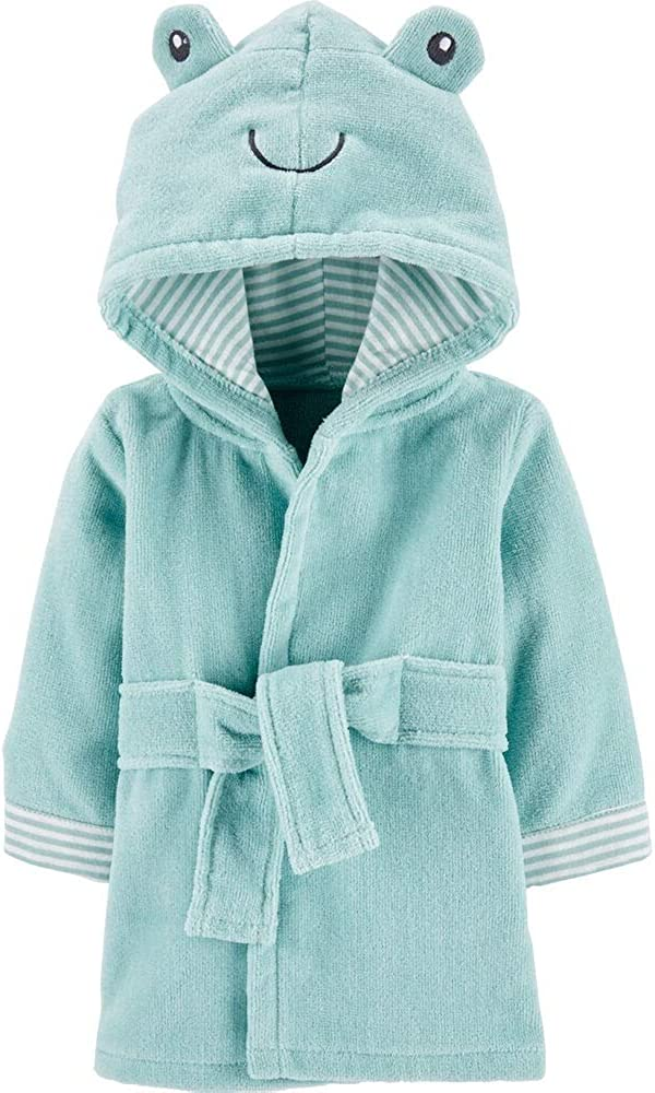 0-9 Months Carters Frog Hooded Terry Robe Teal