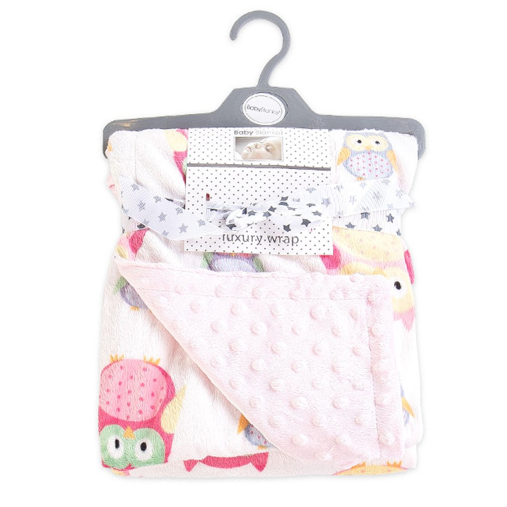 Echaprey Plush Polyester Soft Bed Baby Blanket Double Layer Dotted Backing Toddler Blankets with Animal Print (Pink Owl) by Echaprey