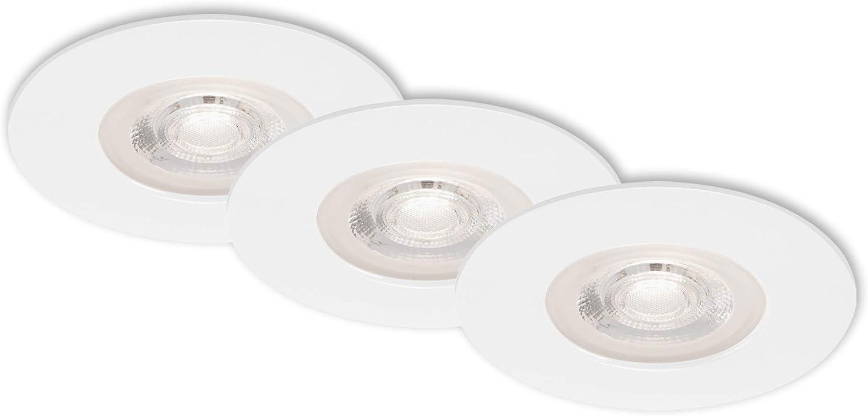 je 460 Lumen 3er Set Briloner Leuchten 3.000 Kelvin 90x25mm IP44 DxH LED Einbauleuchten Wei/ß je 5 Watt Deckenlampen dimmbar