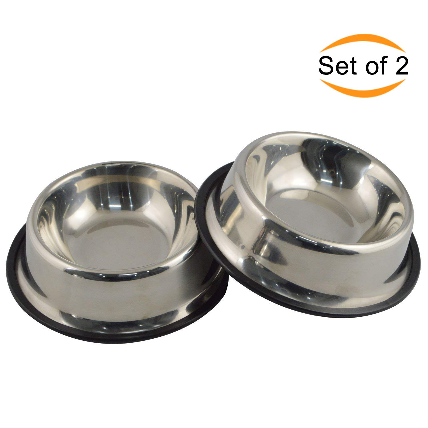 Mlife Stainless Steel Dog Bowl with Rubber Base for Small Medium Large Dogs Pets Feeder Bowl and Water Bowl Perfect Choice Set of 2