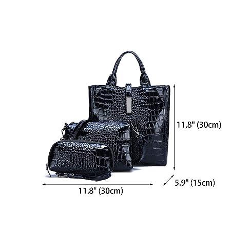 DEERWORD Bolsos Para Mujer Shoppers y Bolsos de Hombro Bolsos Bandolera Carteras de Mano Con Asa 3 piezas Azul: Amazon.es: Equipaje