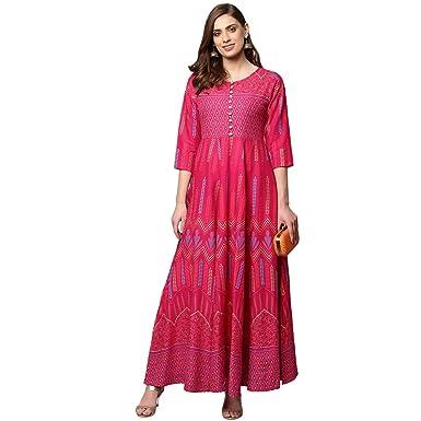 2935eb776 Libas Women s Floral Anarkali Style Kurtas  Amazon.in  Clothing ...
