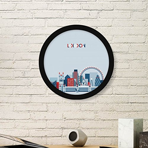 Britain UK London Eye Bridge Tower Blue Round Picture Frame Art Prints of Paintings Home Wall Decal Gift