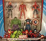 old avengers - Marvel Avengers Action Figures - Iron Man, Hulk, Black Widow, Spider-Man & Captain America