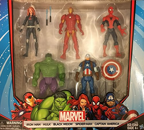 Marvel Avengers Action Figures - Iron Man, Hulk, Black Widow, Spider-Man & Captain America