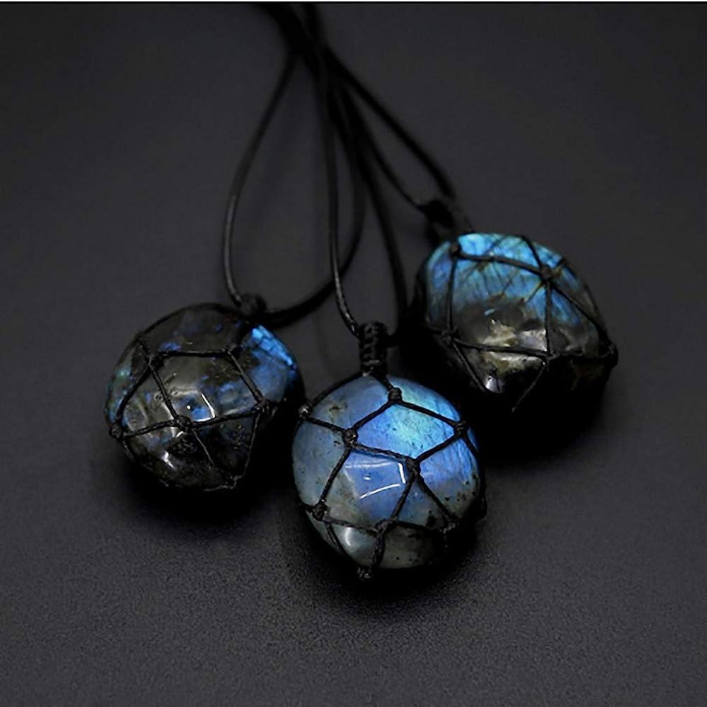 Labradorite Gemstone Dragons Heart Pendant Necklace-Healing Spiritual Protection Grounding Balance Necklace-Natural Crystal Energy Necklace