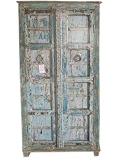 indian furniture antique cabinet distressed reclaimed blue patina storage chest amazoncom antique jewelry armoire