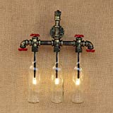 JYKJ Retro Water Pipe Wall Lamp, American Industrial Wind Wine Bottle Wall Sconce Personalized Restaurant Lamp Bedroom American Country Cafe Decoration Wall Light (Color : A)