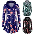 WOCACHI Womens Floral Hoodies Hooded Pullover Blouses Swing Tunic Tops Pockets