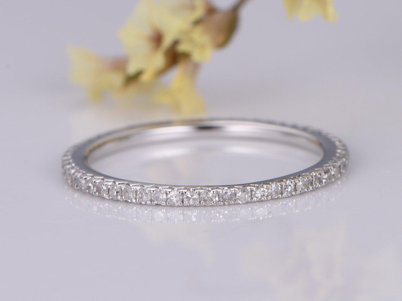 French V Pave Diamond Wedding Band Solid 14k White Gold Full Eternity Engagement Ring Bridal Promise Ring Stack Matching Band