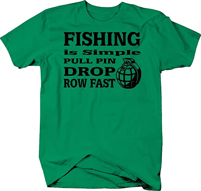f471952d9c Amazon.com: Fishing is Simple Pull Pin Drop Grenade Row Fast Tshirt:  Clothing