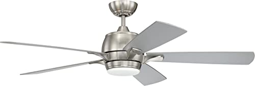 Craftmade STE52BNK5-UCI Stellar 52 Ceiling Fan with 12 Watt LED Light Kit and Remote Control, 5 Plywood Blades, Brushed Polished Nickel