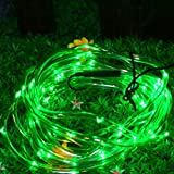 Hunpta Solar Lights Garden String Lights,Outdoor Solar Rope Lights Waterproof Solar Garden Fairy Lights for Fence,decking, pathway, patio, pergola (Green)