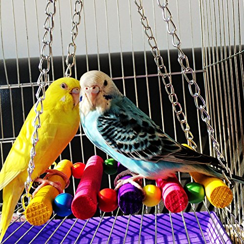 RYPET Bird Swing - Wooden Conure Toys Bird Cage Hammock Swing Hanging Toy for Small Parakeets Cockatiels, Conures, Macaws, Parrots, Love Birds, Finches(2 Packs) by RYPET (Image #6)