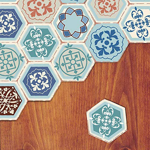 Floor Wall Tile Decal for Home Decor, Self-Adhesive Peel and Stick Hexagon Backsplash Tile Sticker for Kitchen Bathroom, 7.9x9.1inch 10 Pcs