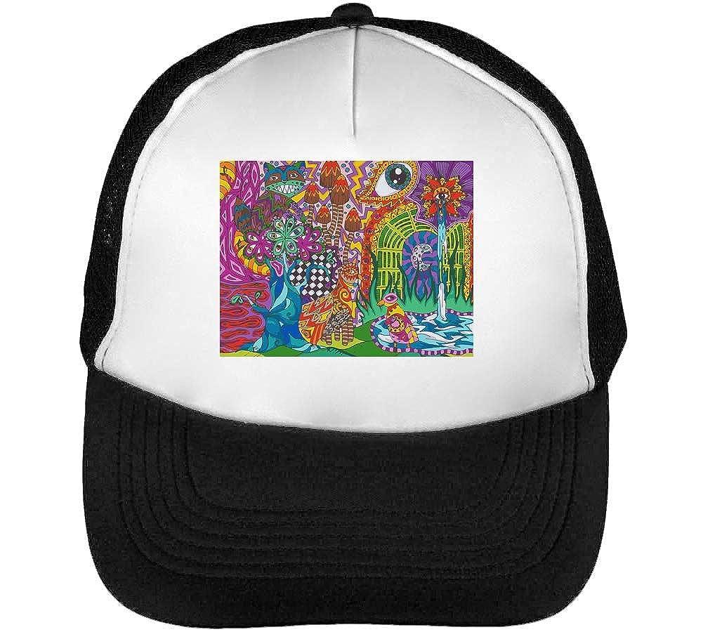 Nature on LSD Eastern Style Artwork Casquette Snapback Homme Noir Blanc Baseball
