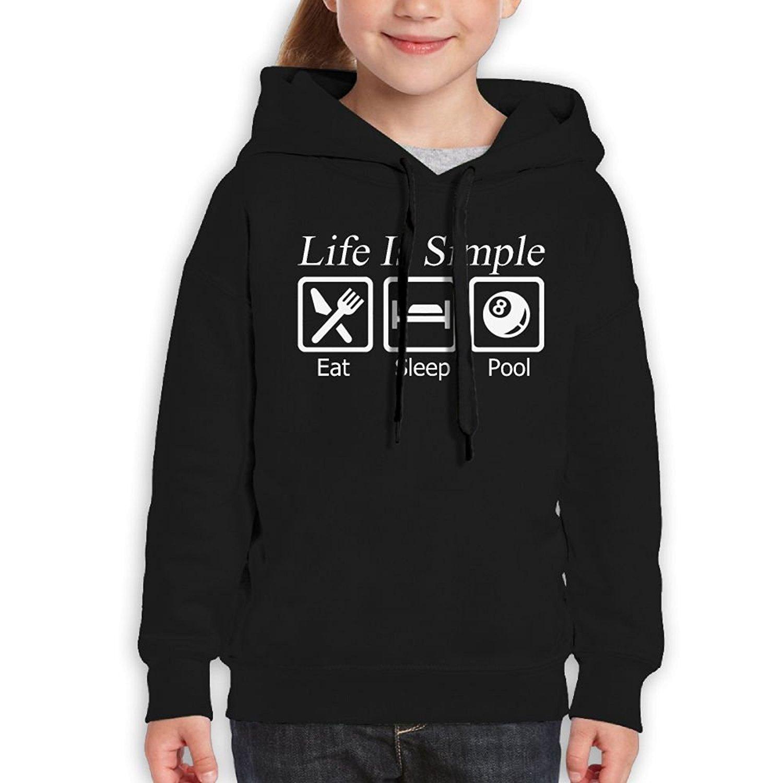 Starcleveland Teenager Pullover Hoodie Sweatshirt Life is Simple Eat Sleep Pool Teens Hooded Boys Girls