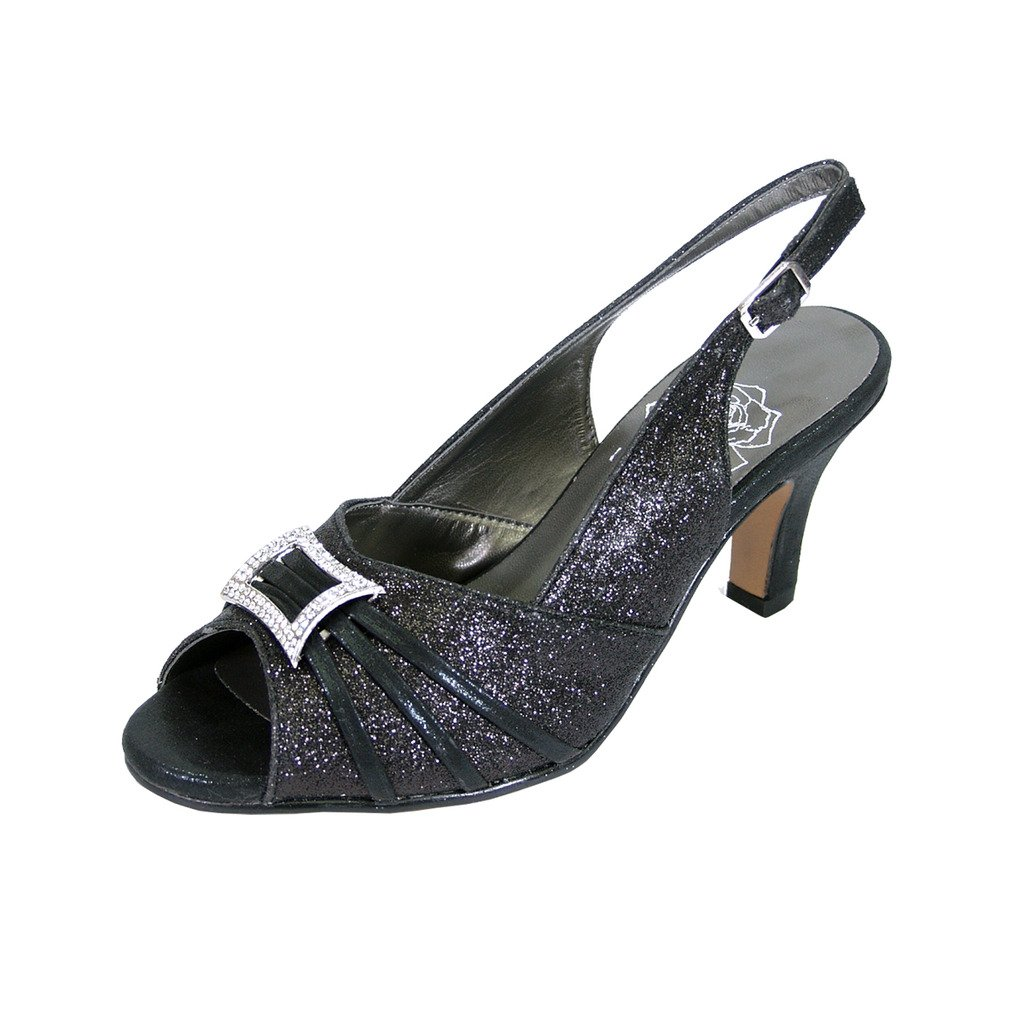 Black Floral FIC Nadine Women Wide Width Peep Toe Dress Slingback with Jewels (Size Measurement Guide Available