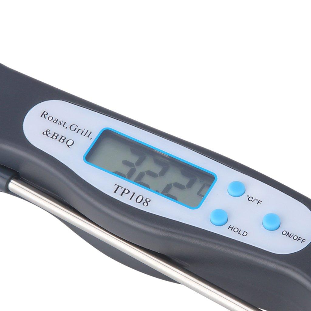 Orange faltbar FutuHome Klappbar Thermometer Faltbar K/üchenthermometer Lebensmittelthermometer mit LCD-Display