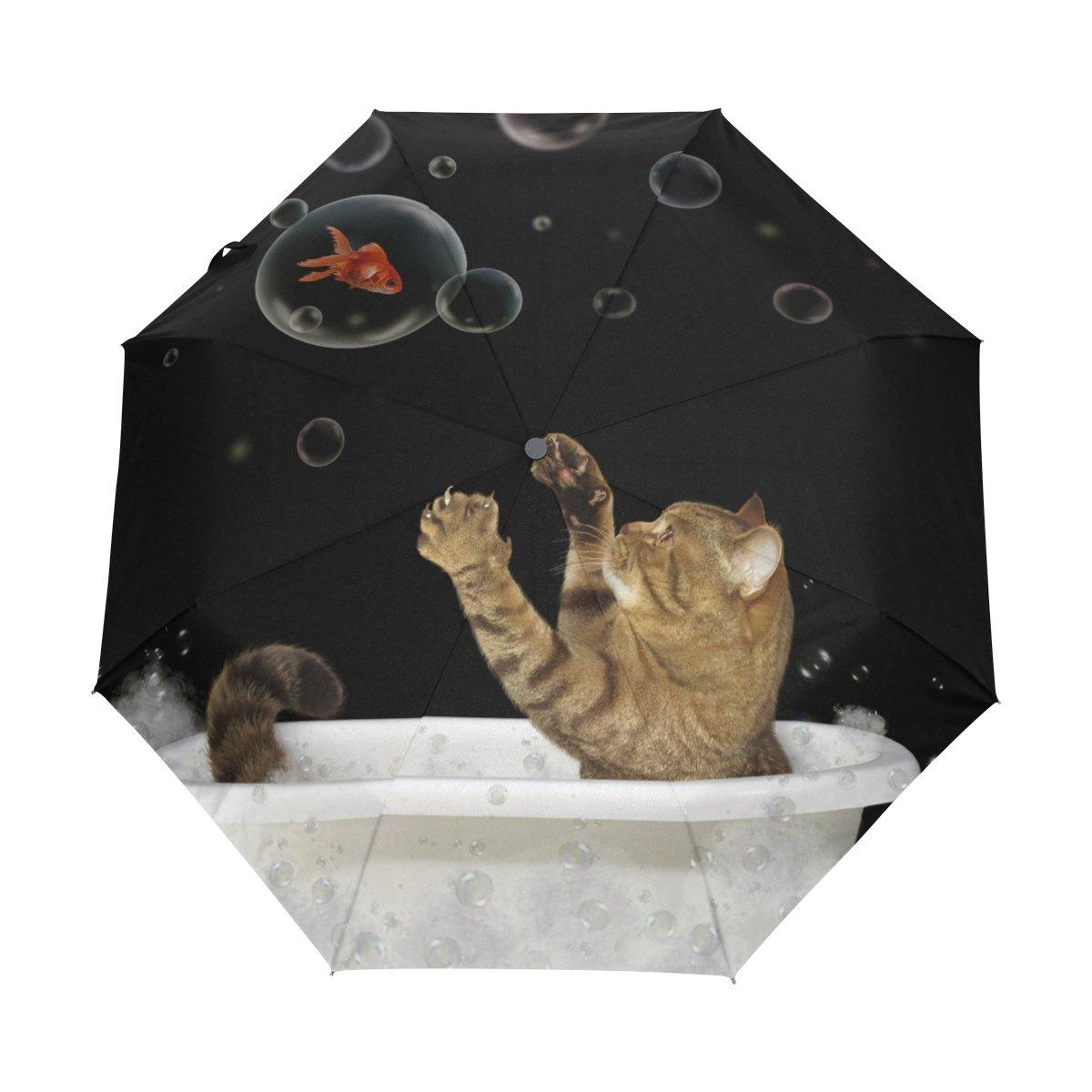 Naanle Cat Goldfish Bubble Auto Open Close Foldable Windproof Travel Umbrella