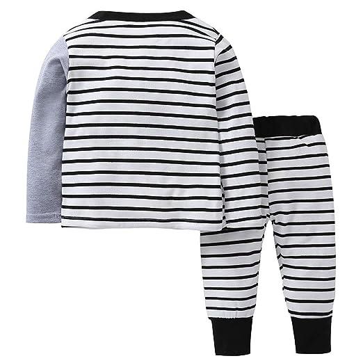 XXYsm 2Pcs Baby Outfits Sweatshirt Pullover Tops Hosen Set M/ädchen Jungen Unisex Blusen Elefant Gestreifter Druck Oberteile