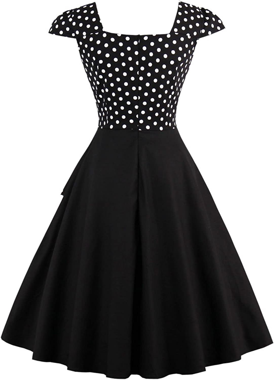 Damen 50er Jahre Vintage Rockabilly Kleid Pin up Cocktailkleid Polka Dots Partykleid Knielang
