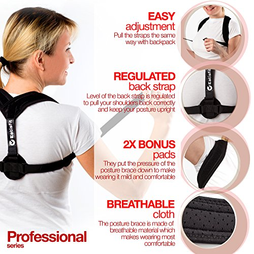 Eatisfit Professional Posture Corrector Back and Shoulder Support for Women and Men. Best Way to Improve Bad Posture, Prevent Slouching and Relieve Pain. Includes Carry Bag by Eatisfit (Image #1)