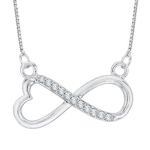 9597a25093b11 Amazon.com: Heart Shaped Infinity Diamond Pendant Necklace in ...