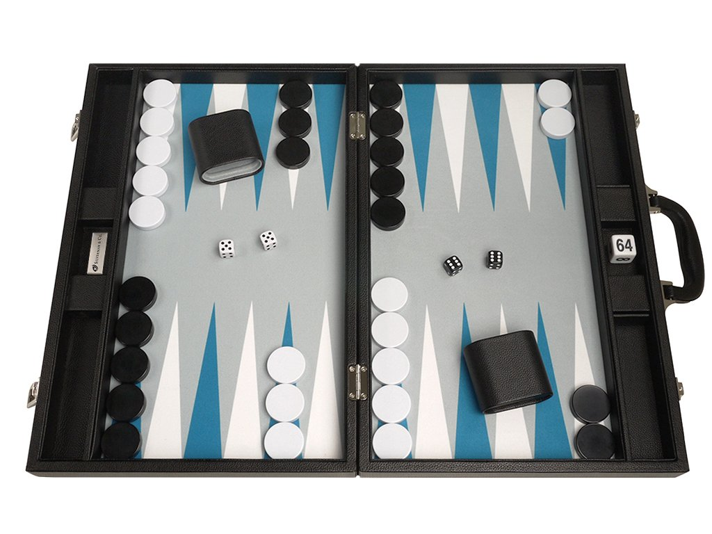 19-inch Premium Backgammon Set - Large Size - Black with White and Astral Blue Points by Silverman & Co.