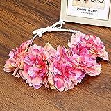 Beauty Bride Rose Flower Crown Hairband Wedding Floral Headband Garland Festival Wreath Hand Strap Hair Accessories Dark Pink