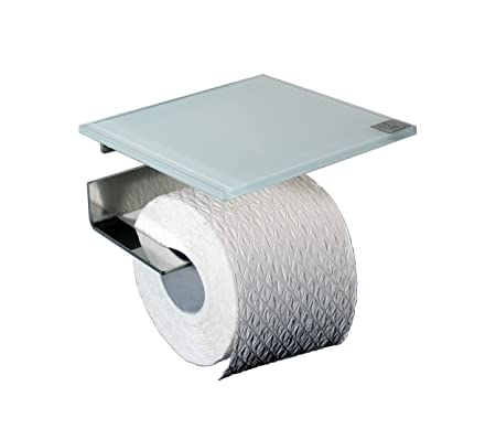 Toilet Roll Holder Stainless Steel And White Glass Shelf Amazonco