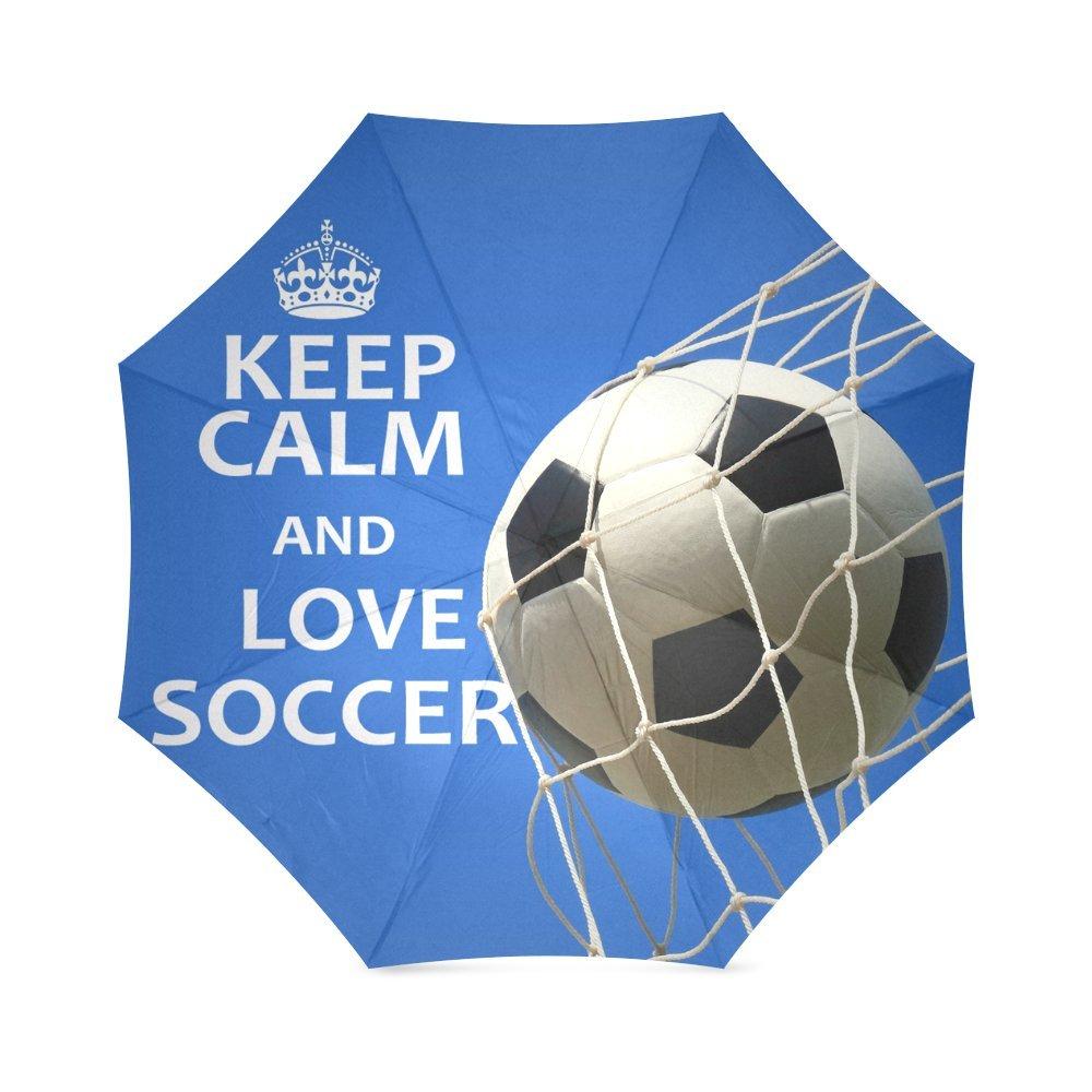Mothers /父/ Brothersギフトサッカーボール引用符Keep Calm and Love Soccer 100 %生地とアルミニウム高品質傘   B0179J9TRO