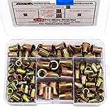 Rivet Nut, LOKMAN 105PCS Assort 8-32UNC 10-24UNC 1/4''-20UNC 5/16''-18UNC 3/8''-16UNC Carbon Steel Flat Head Rivnut Threaded Insert Nut Kit, Knurled Body (Rivet Nut Kit 2)