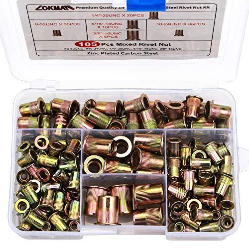 Carbon Body Steel (Rivet Nut, LOKMAN 105PCS Assort 8-32UNC 10-24UNC 1/4