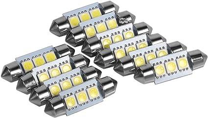 VGEBY 10PCS 36MM 12V 3 SMD 5050 LED Bombillas Interiores de Coche L/ámpara Blanco LED Mapa Dome Luces Bombillas
