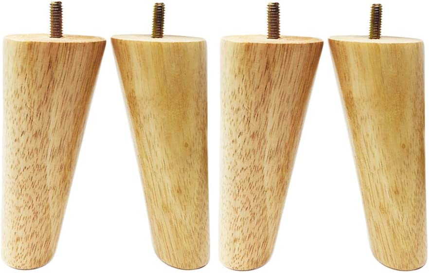 """Guangdejin E-commerce Co., Ltd. Set of 4 Furniture Legs Sofa Legs 5.9"""" Full-Set Solid Tapered Wood Legs 5/16"""" Screw for Furniture Sofa Couch Ottoman Coffee Table Bench Chair."""