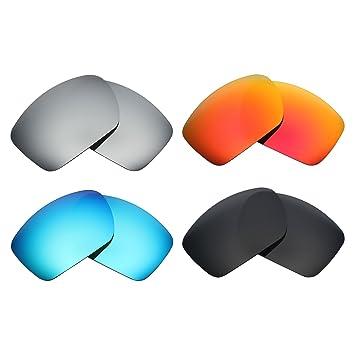 74c63569e MRY 4 pares polarizadas lentes de repuesto para Oakley Big Taco sunglasses-stealth  negro/fuego rojo/hielo azul/plata titanio: Amazon.es: Deportes y aire ...