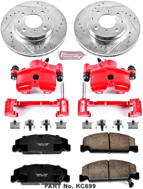 Brake Pads /& Calipers Power Stop KCOE7242 Autospecialty Front and Rear Brake Caliper Kit-Rotors