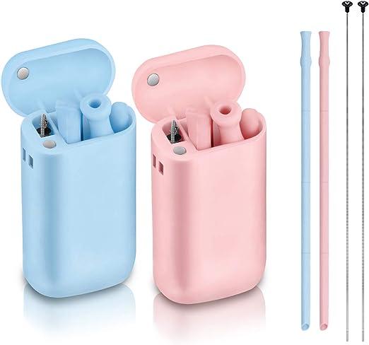 4 paquetes de varios colores reutilizables y plegables pajita plegable con cepillo de limpieza de silicona Pajitas de silicona reutilizables