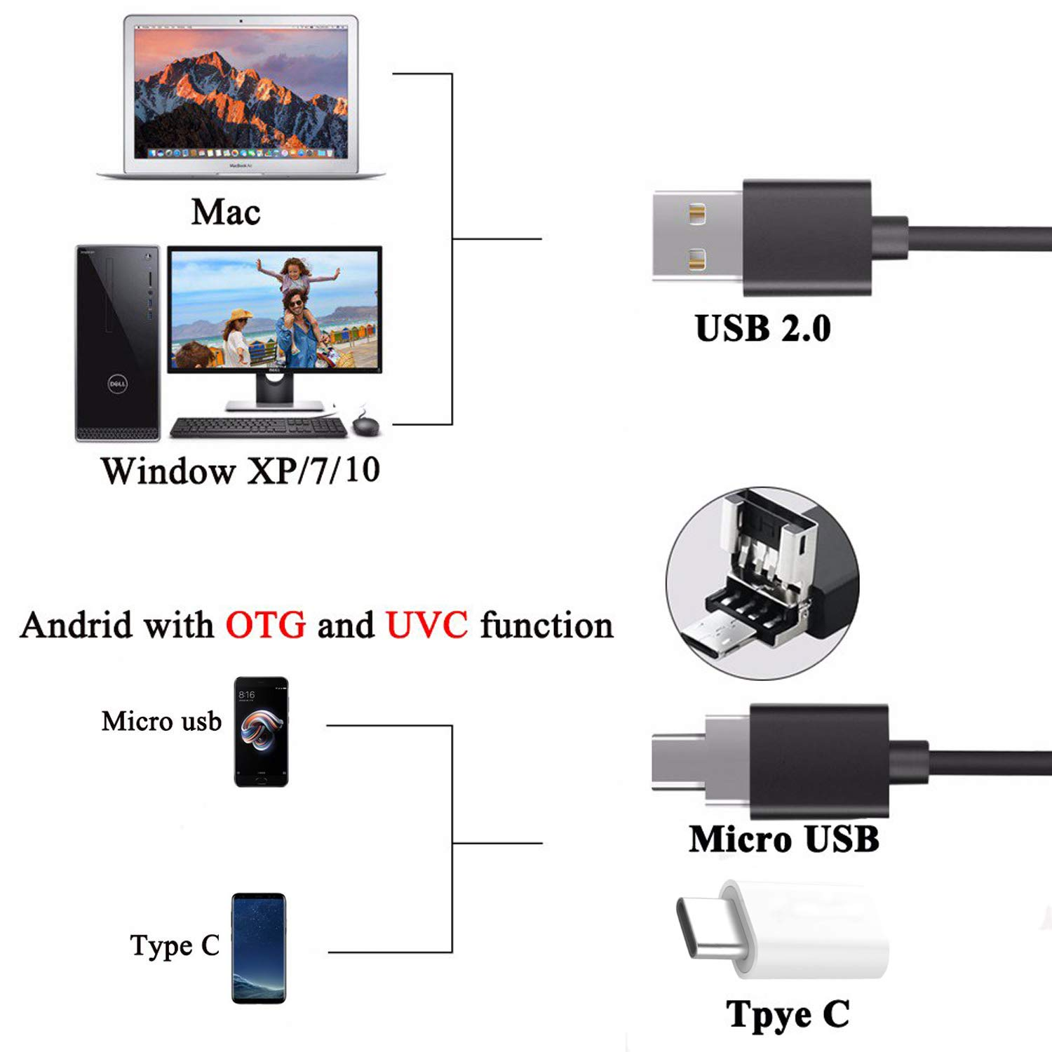 USB Microscope,1000x Zoom 1080p Digital Mini Microscope Camera with OTG Adapter and Metal Stand,Compatible for Micro USB Type-C Android, Windows Mac Linux by Eleay (Image #2)