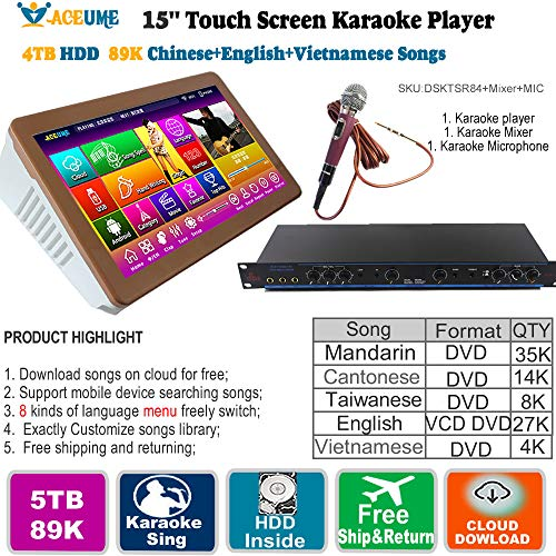 (5TB HDD 89K Chinese + English +Vienamese Songs 15.6'' Touch Screen Karaoke Player,Songs Machine,ECHO Mixing, Wireless Microphone,Remote Controller)
