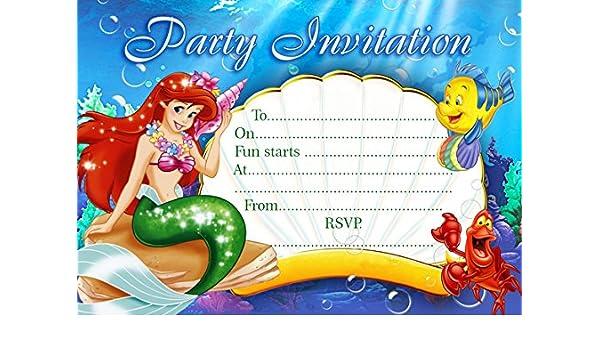 10 x la Sirenita niños fiesta de cumpleaños invitaciones ...