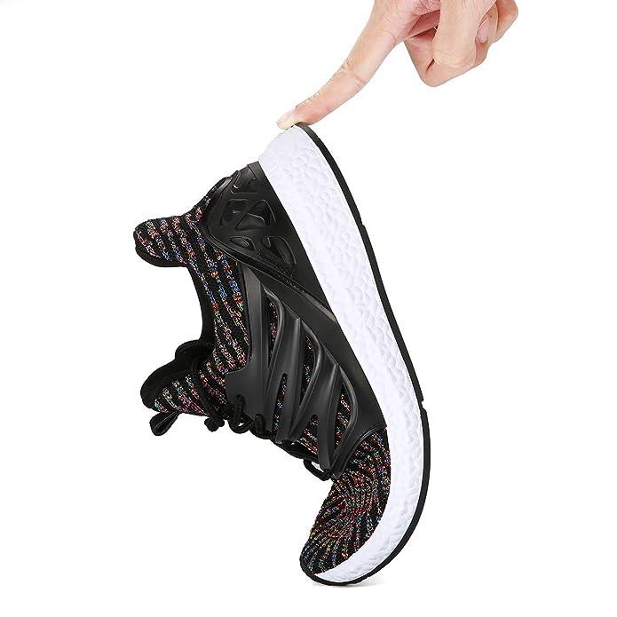 Baskets Mode Homme Femme, Gracosy Sports Léger Sneakers Basses Chaussures de course Running Ville Training Tennis, NOIRE GRISE (Grille de poiture à