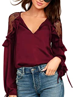 8ed8da836999a Blooming Jelly Womens Chiffon Blouse Tie V Neck Long Sleeve Lace Patchwork  Ruffles Chic Tops