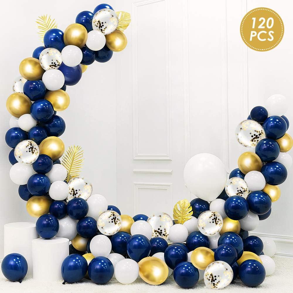 Hochzeit Latex Luftballons mit 5M Ballonkette Dekoration WD/&CD 120 St/ück Luftballons Blau Gold Wei/ß mit Gold Konfetti Luftballons Ballonband f/ür Geburtstag Goldenes Band