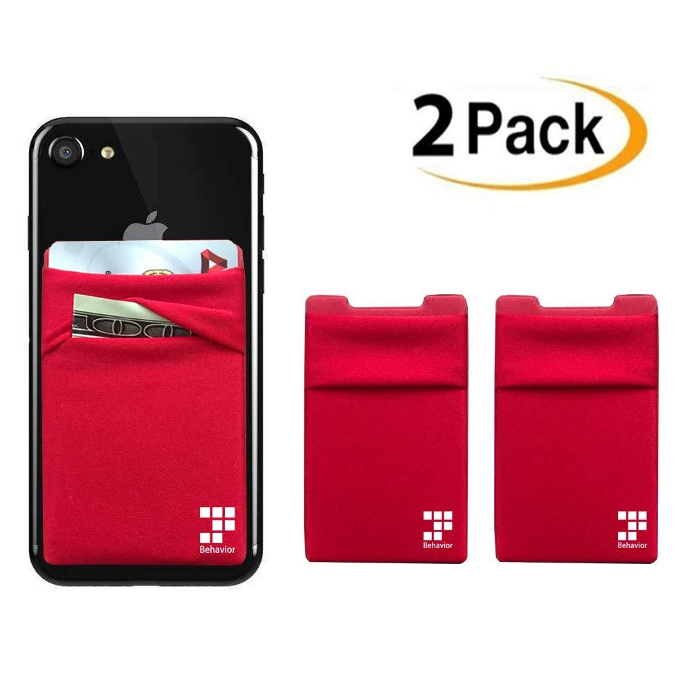 [2pc] Phone Card Wallet - Ultra-slim Self Adhesive Double Secure RFID-Blocking Phone Pocket, Credit Card Holder Sleeves Phone wallet sticker For All Smartphones (Black) StarBehavior