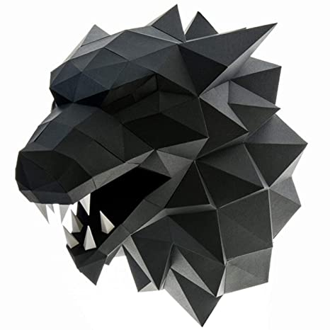 Paperraz 3D Wolf Head Animal Building Trophy Puzzle Low Poly PaperCraft Kit  for Adults & Teens - NO Scissors Needed