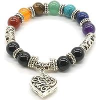 Mayting 10 MM Beads Yoga Balancing Reiki Healing Bracelet 7 Chakra Antique Silver Colour Hollow Heart Bracelet