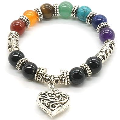 2886ca2f1669 Mayting 10 MM de Cuentas de Yoga de Equilibrio de Reiki Curación Pulsera 7  Chakra Plata de Color Antiguo Corazón Hueco de Pulsera