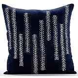 "Navy Blue Decorative Pillow Cover 16x16, Sequins & Beaded Pillows Cover, 16""x16"" Pillow Cover, Square Cotton Linen Throw Pillows Cover, Floral Contemporary Decorative Pillows Cover - We Go Up and Down"